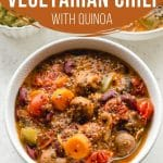 Pinterest image for slow cooker vegetarian chili with quinoa - short pin.