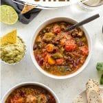 Pinterest image for slow cooker vegetarian chili - short pin.
