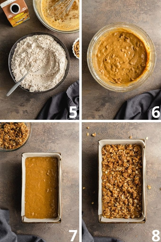 Collage of 4 images showing how the dry ingredients are mixed into the wet mixture and the batter is poured into a loaf pan and topped with streusel.