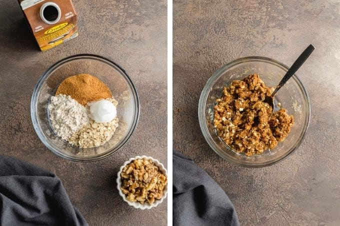 Two images showing how the walnut streusel is mixed together in a glass bowl.