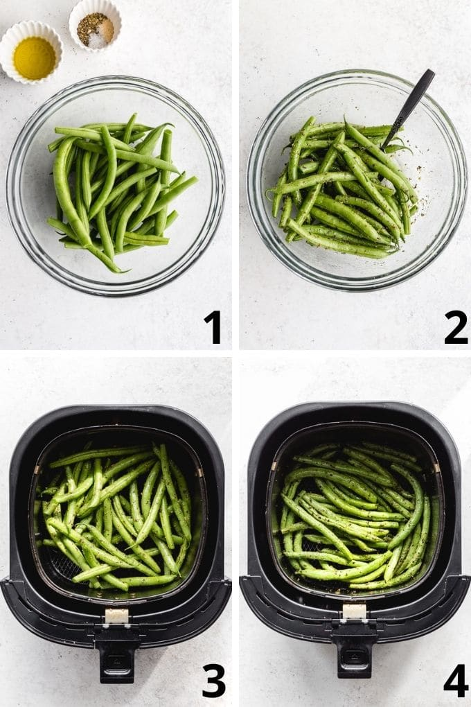 Collage of 4 images showing how the green beans are seasoned in a bowl and then roasted in the air fryer basket.