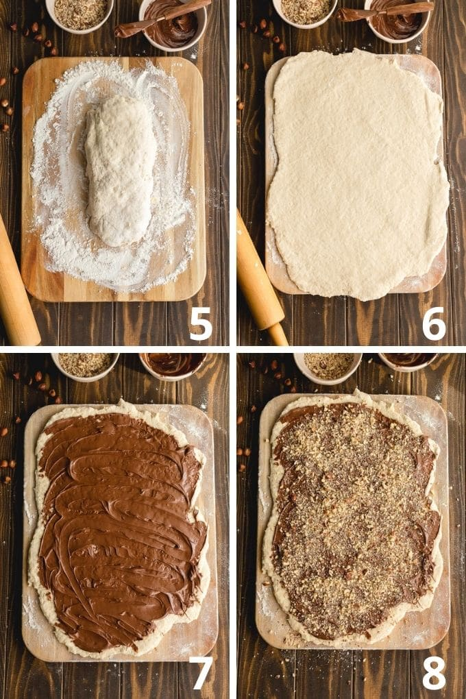 Collage of 4 images showing how the dough is rolled out and topped with Nutella and hazelnuts.