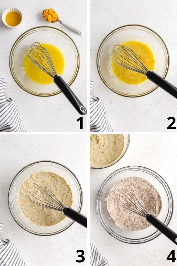 Collage of 4 images showing how the muffin ingredients are mixed together in a glass bowl with a whisk.
