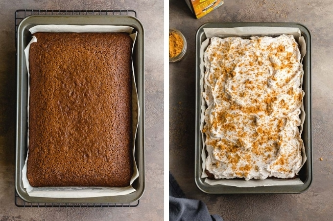 Collage of 2 side-by-side images showing the cake in the cake pan, first photo is unfrosted and the other is frosted.