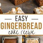 Pinterest image for Easy Gingerbread Cake Recipe - long pin 1.