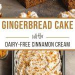 Pinterest image for Easy Gingerbread Cake Recipe - long pin 2.