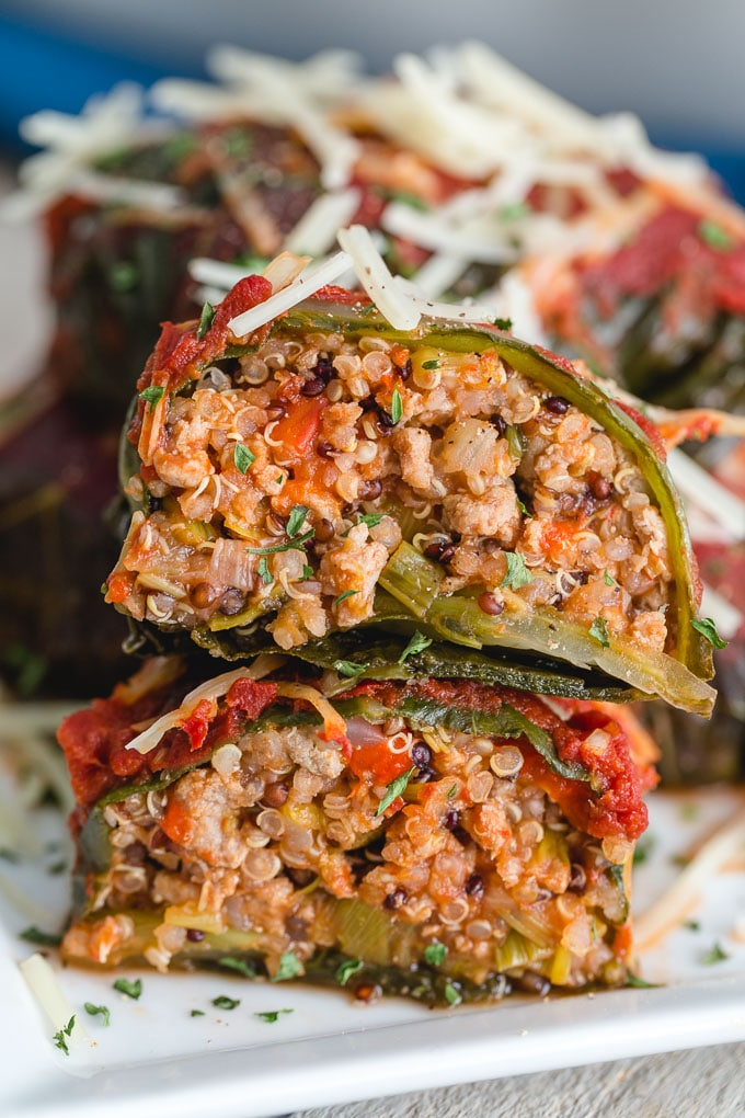 Extreme up close of the filling inside stuffed collard greens.
