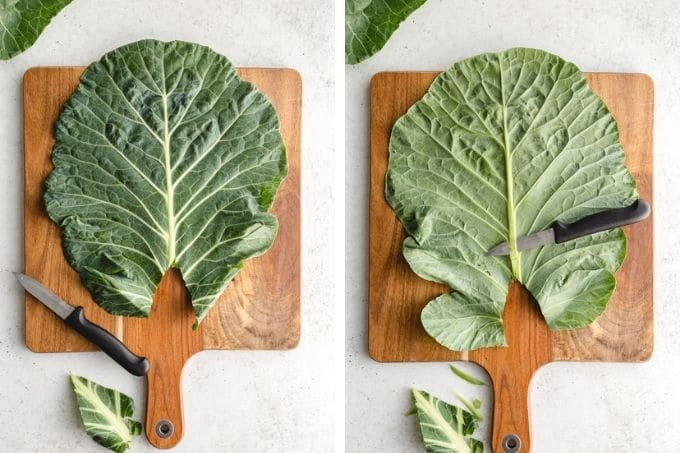 Collage of 2 images showing how the stem and rib is trimmed from a collard green leaf.