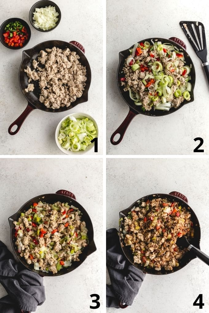 Collage of 4 images showing how the turkey and quinoa filling is made in a skillet.
