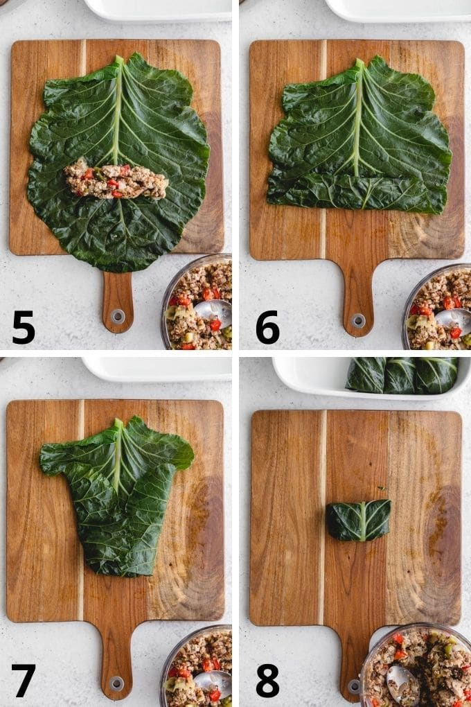 Collage of 4 images showing how the collard leaves are filled and rolled.
