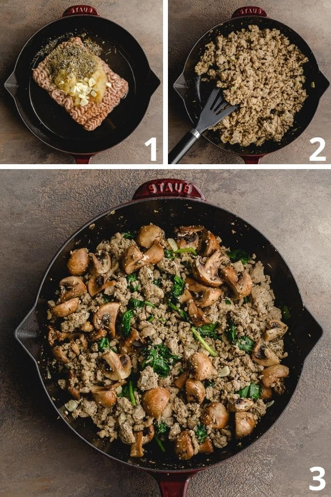 Collage of 3 images showing how the ground turkey is cooked in a skillet.