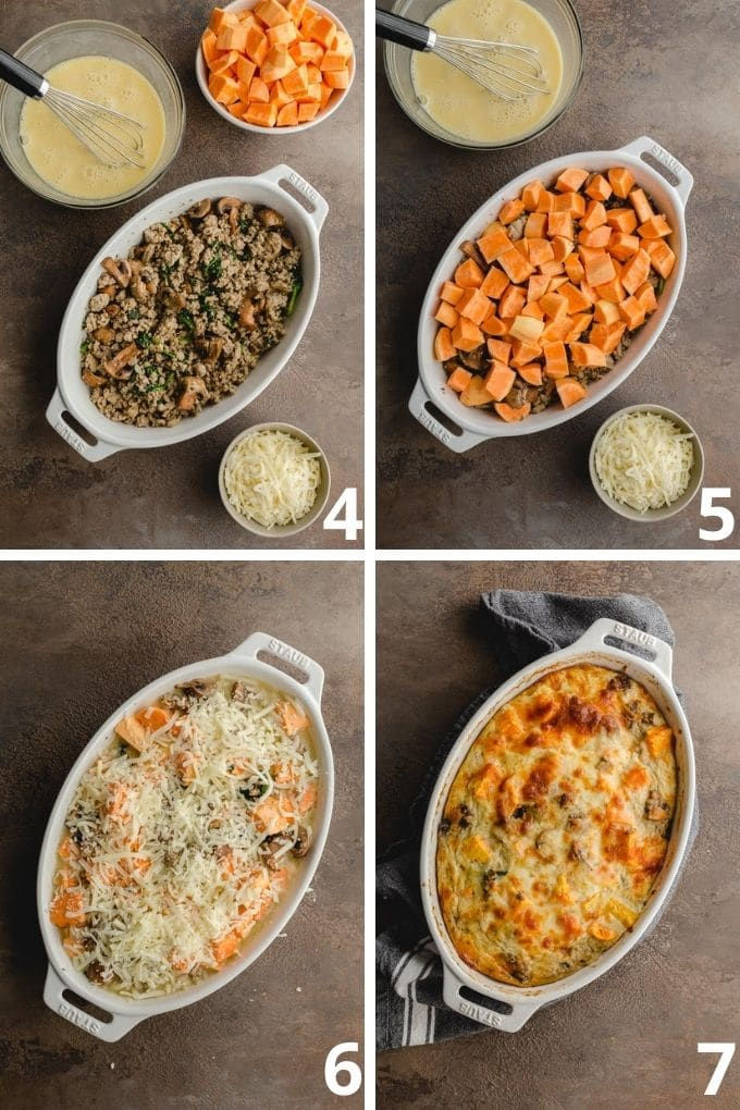 Collage of 4 images showing how the ground turkey, sweet potato and eggs are assembled in a casserole dish.