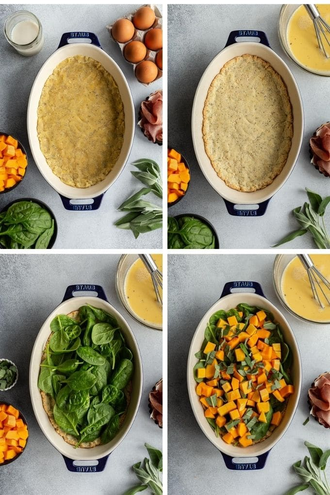 Collage of 4 images showing how the crust is made and the quiche is assembled.