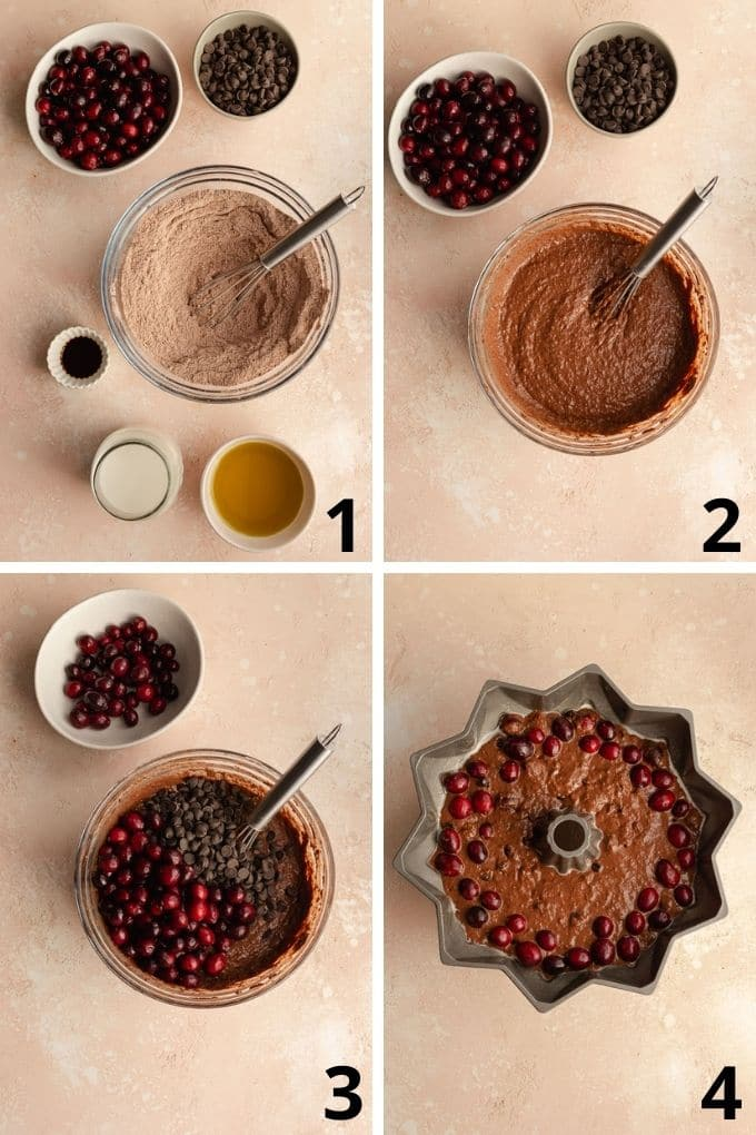 Collage of 4 images showing how the cake batter comes together.