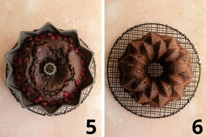 Two images showing the cake cooking in the pan and then flipped out onto a wire rack.