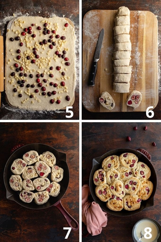 Collage of 4 images showing how the cranberry buns are rolled up, cut into slices and assembled for baking in a skillet.
