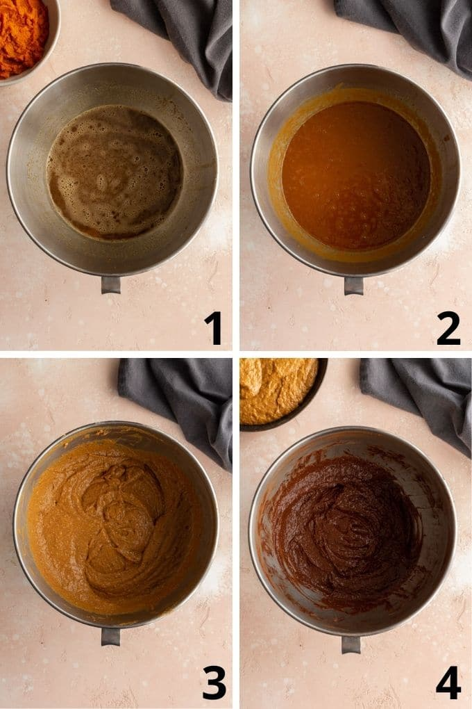 Collage of 4 images showing how the cake batter comes together in a bowl.