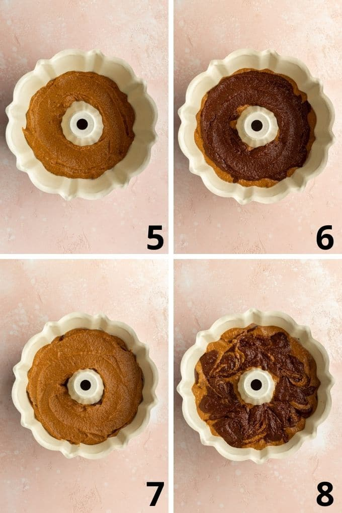 Collage of 4 images showing how the pumpkin cake batter is layered into a bundt pan.