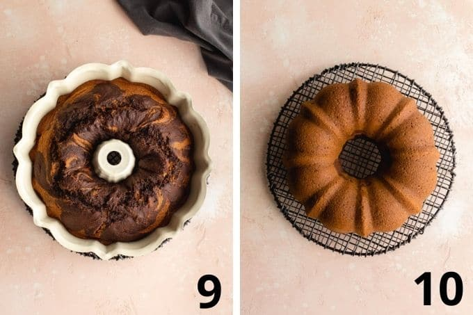 Two images showing the baked cake in the bundt pan and then cooling on a wire rack.