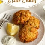 Pinterest image for Air Fryer Crab Cakes - pin 1.