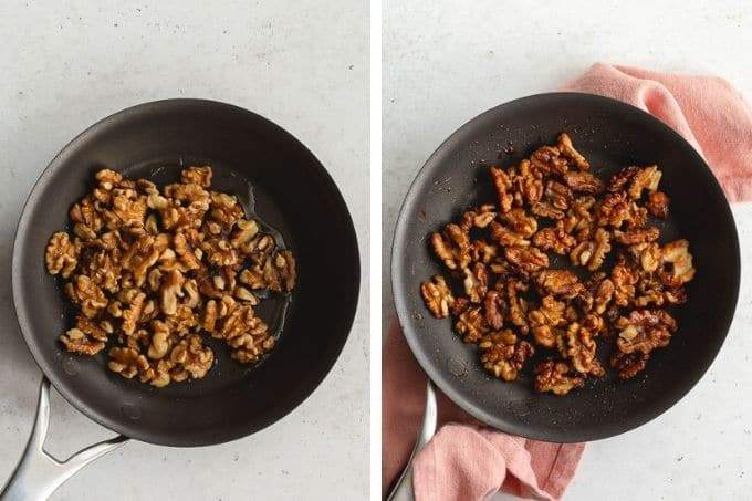 Collage of two images showing how to candy walnuts.