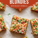Pinterest image for Christmas Blondies - pin 1.
