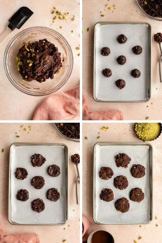 Collage of 4 images showing how the cookie dough is made and shaped into cookies.