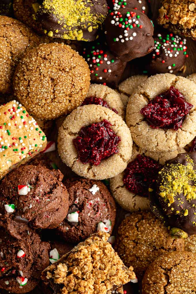 Up close view of a collection of Christmas cookies.