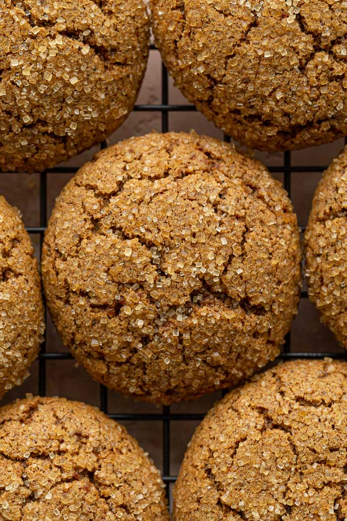 Up close view of chewy ginger molasses cookies.