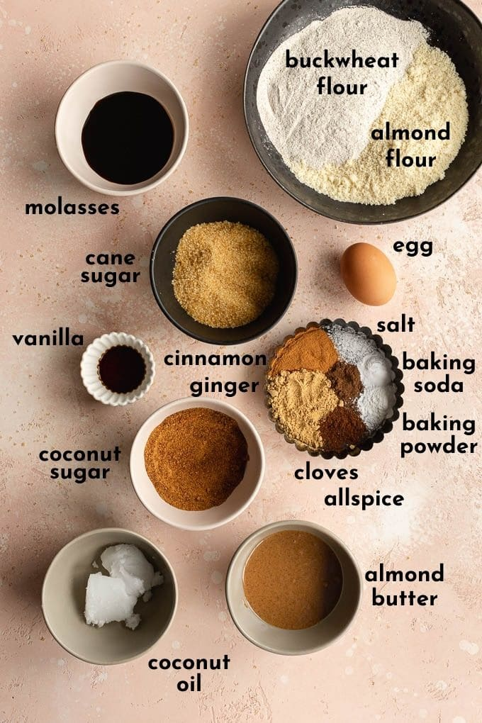 Ingredients to make gluten-free ginger cookies arranged individually and labelled.