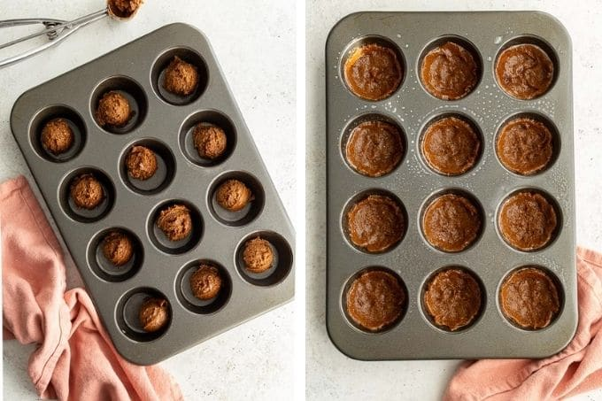 Collage of two images showing the cookie dough in the muffin pan.
