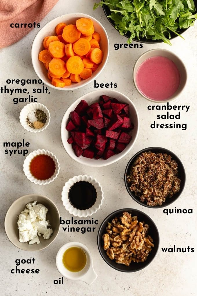 Ingredients to make beet and carrot salad arranged individually and labelled.