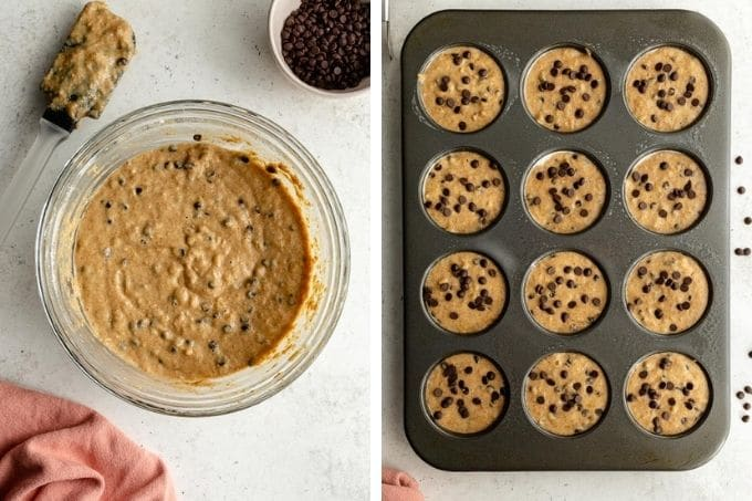 Collage of two images showing how the muffin batter is made in one bowl and added to the muffin pan.