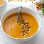 Pinterest image for Sweet Potato Carrot Soup - Pin 1.