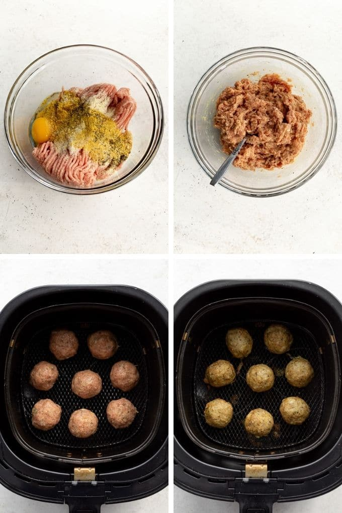 Collage of 4 images showing how chicken meatballs are mixed together in a bowl and cooked in an air fryer.