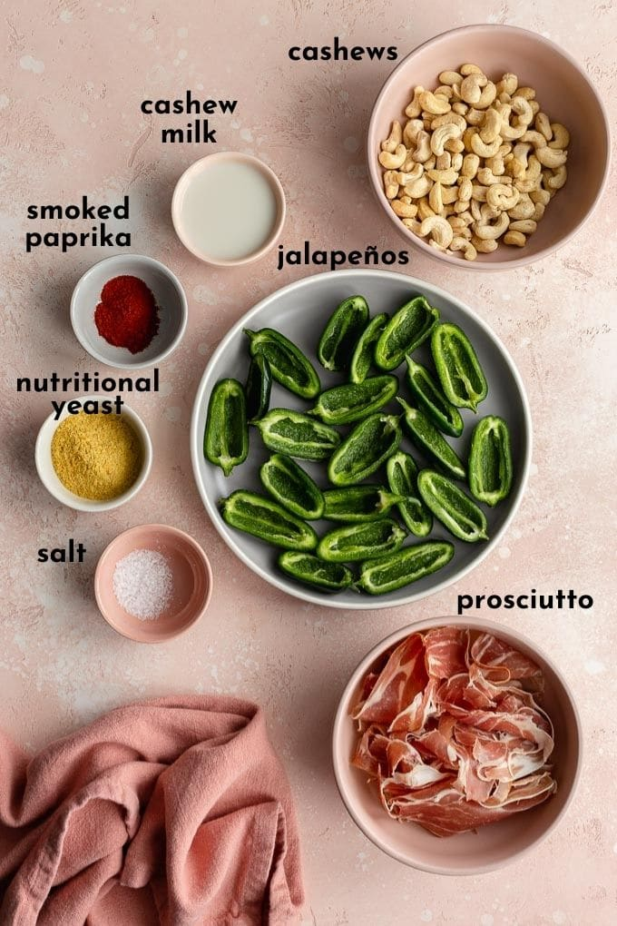 Ingredients to make jalapeño poppers arranged individually and labelled.