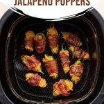 Air fried jalapeño poppers in an air fryer basket.