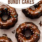 Pinterest image of mini chocolate bundt cakes arranged on a sheet of parchment paper.