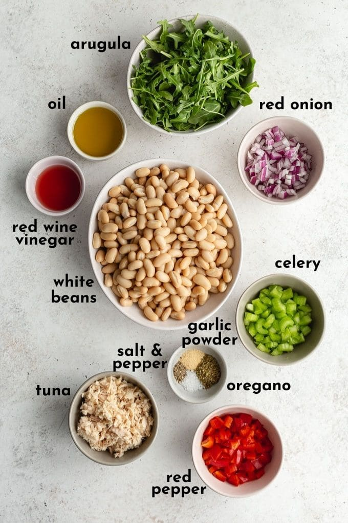 Ingredients to make tuna bean salad arranged individually and labelled.