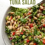 Pinterest image for white bean tuna salad in a large grew bowl.