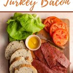Pinterest image of ingredients to make a turkey bacon, lettuce and tomato sandwich.