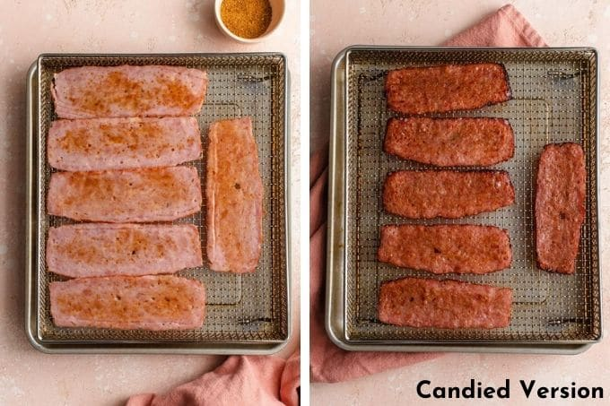 Before and after of the candied turkey bacon in the air fryer.