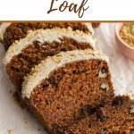 Pinterest image of slices of carrot cake loaf on parchment paper.