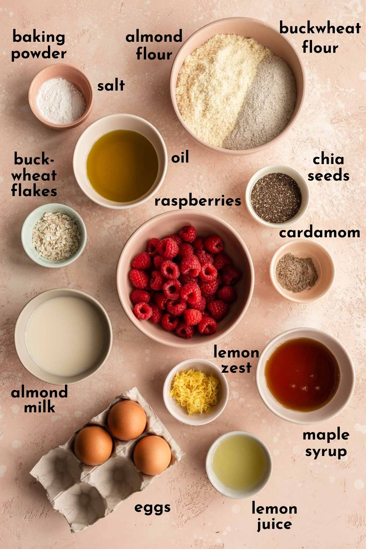 Overhead view of ingredients to make lemon raspberry muffins arranged individually and labelled.