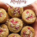 Pinterest image - raspberry muffins arranged in a basket.