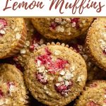 Pinterest image - up close view of raspberry lemon muffins.