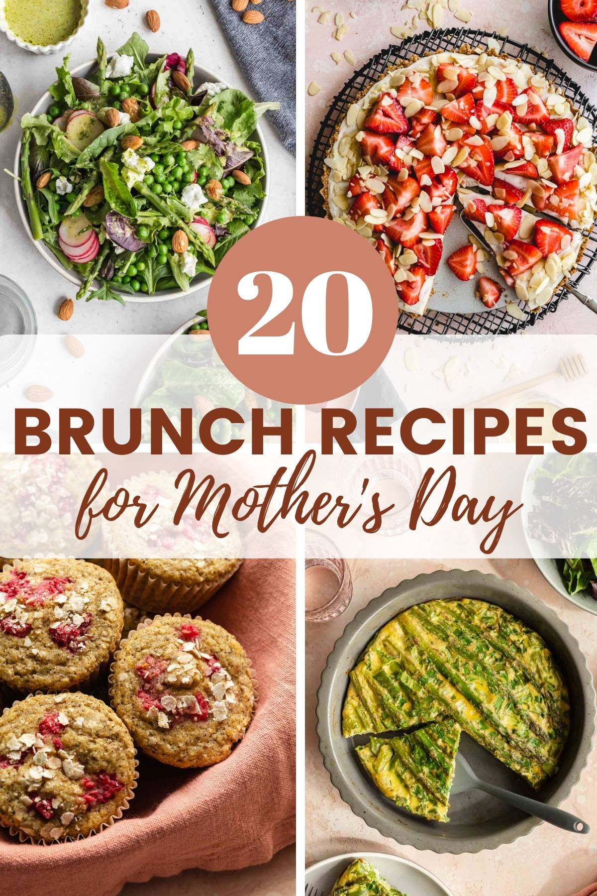 Collage of four brunch recipe images with text in the middle promoting 20 brunch recipes for Mother's Day.