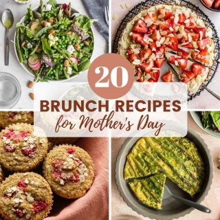 Mother's Day brunch recipes represented by a collage of 4 images of brunch dishes.