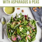 Pinterest image of a spring salad with asparagus and peas.