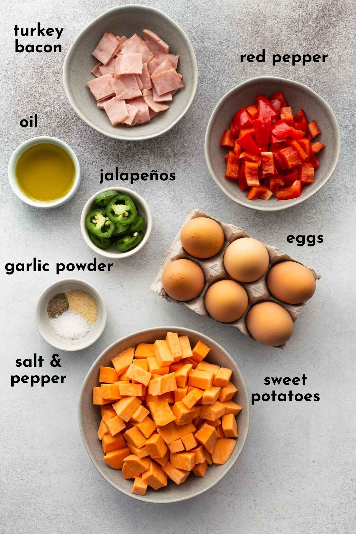 Ingredients to make sweet potato and turkey bacon frittata arranged individually and labelled.